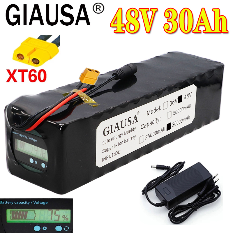 GIAUSA 48V 30Ah 13S4P 18650 e-bike akumulator akumulator litowo-jonowy rower scoot zestaw konwersji bafang 1000W XT60 wtyczka 54.6V ładowarka