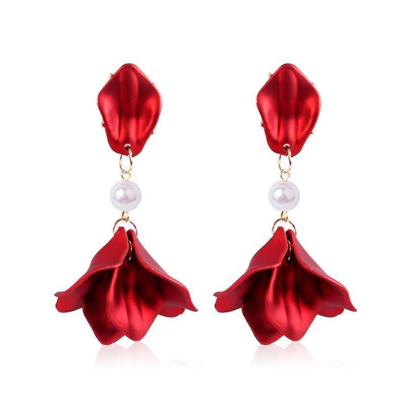 Creative nouveau Long gland Rose fleur pétales balancent boucles d'oreilles femmes mode exagérée perle Zircon goutte boucles d'oreilles bijoux