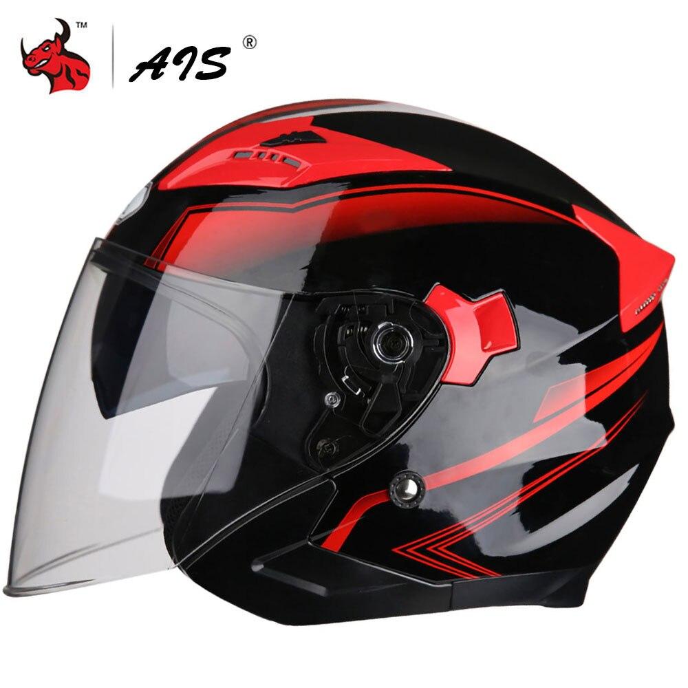 AIS Motorcycle Helmet Open Face Dual Lens Visors Moto Helmet Electric Bicycle Helmet Men Women Summer Scooter Motorbike Helmet