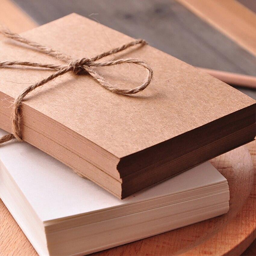 50 листов/набор пустых пригласительных открыток, белые/коричневые открытки из крафт-бумаги, стандартные прямые углы, 9,5x14,5 см