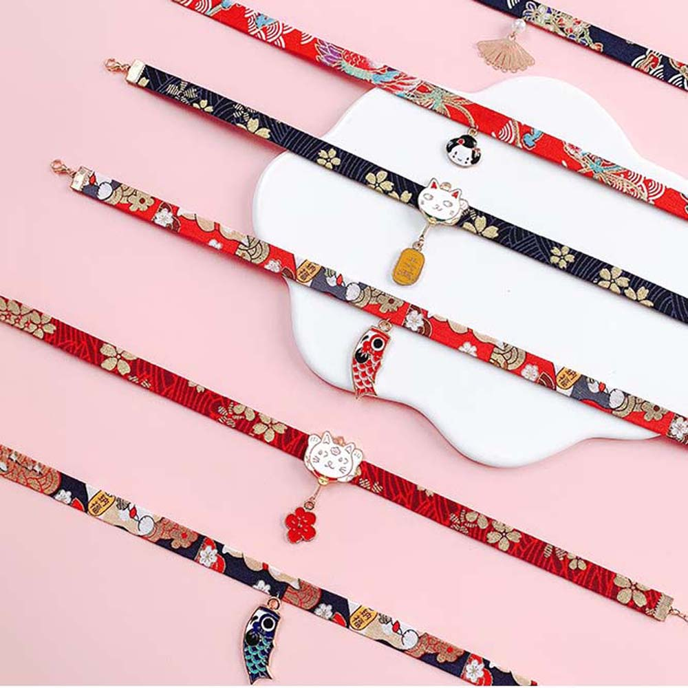 Classic Japanese Style Ribbon Rope Doll Choker Cute Romantic Women Girls Bird Cat Carp Pendant Short Necklace Jewelry