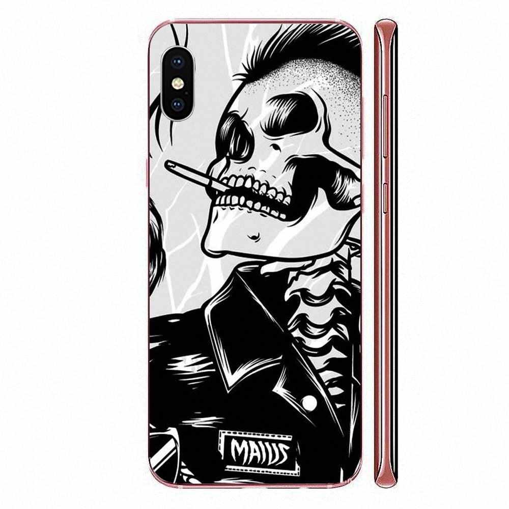 TPU Túi Trường Hợp Cho Xiaomi Redmi Note 8 8A 8T 10 K30 5G Pro Cho Motorola G G2 g3 G4 G5 G6 G7 Plus Alice Punk Đầu Lâu