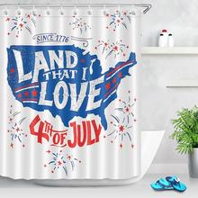 American Map 4th of July Shower Curtain Independence Memorial Day Waterproof Polyester Fabric Bathtub Shower Curtain with Hooks peacock feather fabric shower curtain with hooks