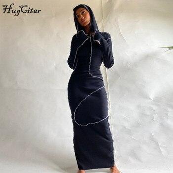 Женское платье макси Hugcitar, с длинным рукавом, с капюшоном, в стиле пэчворк, на осень и зиму, Повседневная Уличная одежда, 2020 3