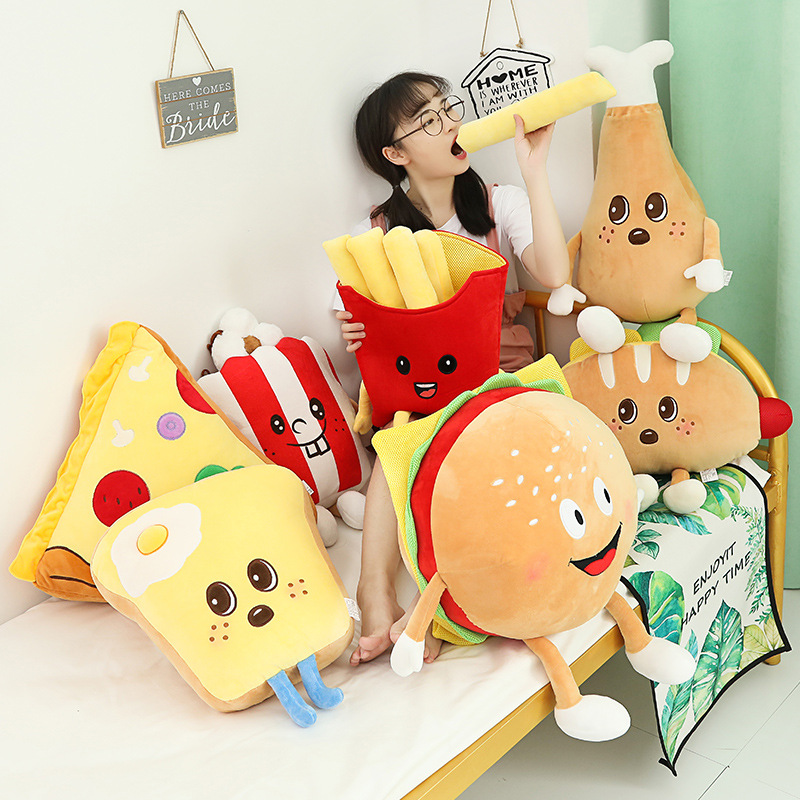 Creative Cartoon Plush Bread Burger Fries Chips Pillow Funny Food Nap Chicken Leg Cola Pizza Sofa Cushion Kids Toy Birthday Gift