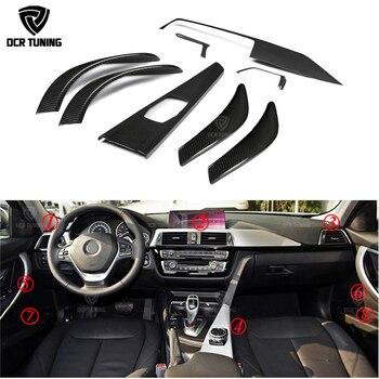 8 pcs / Set For BMW F30 3 Ser GT 4 Ser F36 & 6 pcs For 4 Ser F32 F33 Carbon Fiber Interior Trim Only LHD Gloss Black Carbon Trim