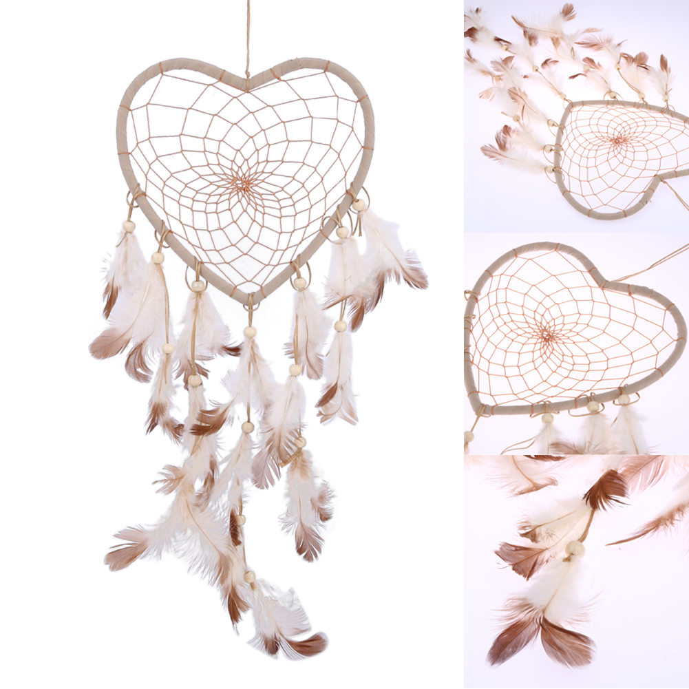 Handmade Indian Heart Dream Catcher Net with feathers Wall Hanging Dreamcatcher Craft Gift  Hourse Decoration