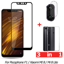 3-in-1 Tempered Glass for Pocophone F1 Xiaomi Mi 8 Lite Camera Mi8 Screen Protector Film