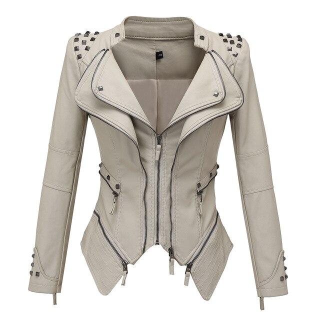Vestes en Faux cuir femme manches longues, moto lisse, automne hiver motard Streetwear noir et rose manteau 4