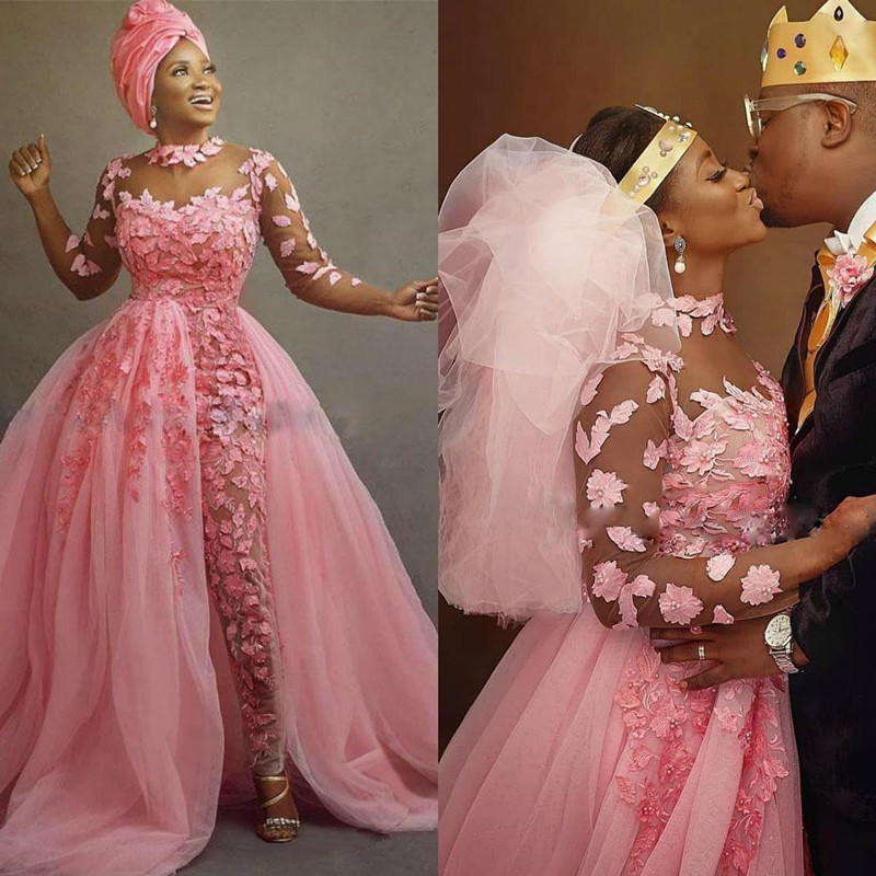 Pink Nigerian African Wedding Jumpsuit With Detachable Train 2020 Sheer Jewel Neck 3D Floral Lace Tulle Bride Dress Pant Suit