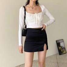 Autumn 2020 new vintage white square neck tie korean casual