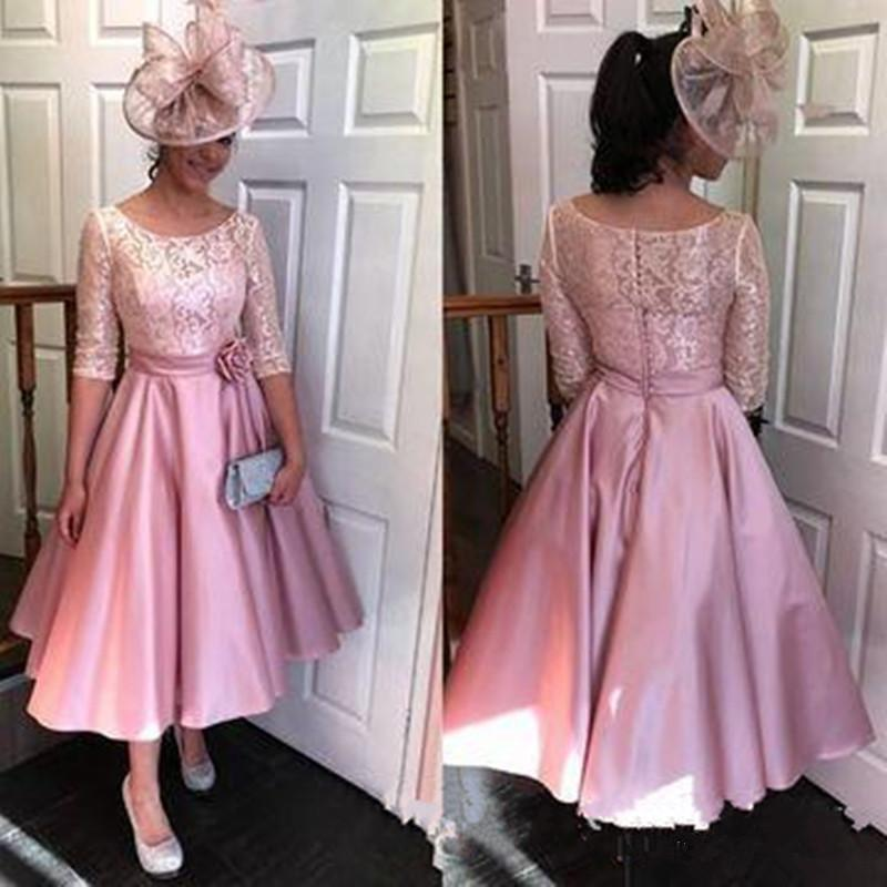 Tea Length Short A-Line Mother Of The Bride Dresses Half Sleeve Lace Evening Gowns Wedding Guest Mother's Dresses Formal gowns