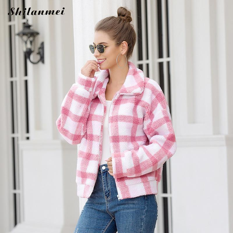 Vintage Fleece   Jacket   Women Lapel Collar Casual Zipper Coat Pink Yellow Plaid   Basic     Jacket   2019 Autumn Winter Plush Street Coat