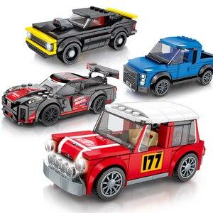 Image 4 - 速度チャンピオンスーパーカー互換レースレンガ車スポーツロードスタービルディングブロック教育 DIY のおもちゃ子供のギフト