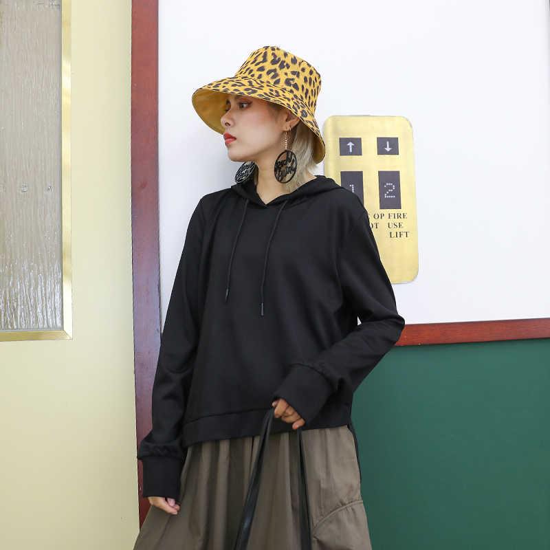 [EAM] женское платье с завязками из двух частей, свитер с капюшоном, длинный рукав, свободный крой, мода осень 2019 1A195