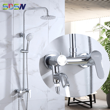Chrome Shower Set SDSN Wall Mounted Bathroom Shower System Quality Brass Shower Faucets Round Rainfall Shower Head ABS Shower