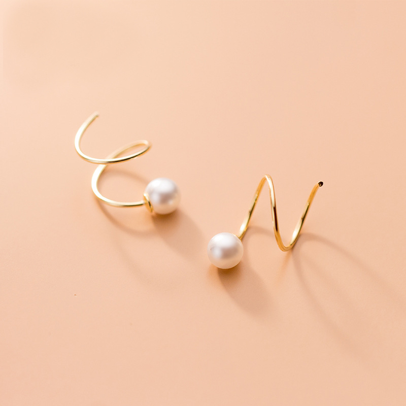 MloveAcc Real 925 Sterling Silver Pearl Spiral Earrings for Fashion Women Fine Jewelry Minimalist Accessorie