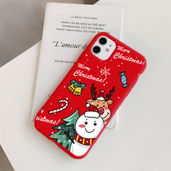 Cartoon Christmas Deer Case For iPhone 11 11pro 12 Pro Max SE 2020 7 8 Plus 6 6S XR X Xs Max New Year Gift Silicone Cover Fundas