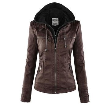 Faux cuir veste femmes 2019 basique veste manteau femme hiver moto veste Faux cuir PU grande taille sweats à capuche vêtements d'extérieur 1