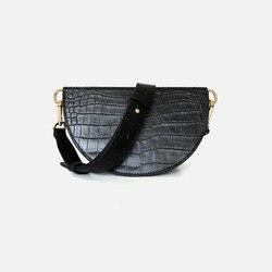 Echtes Leder Frauen Tasche Krokodil wassermelone tasche mini sattel tasche eine schulter Crossbody leder tasche