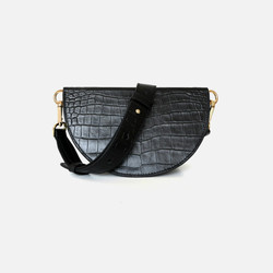 Genuine Leather Women Bag Crocodile watermelon bag mini saddle bag one shoulder Crossbody leather bag