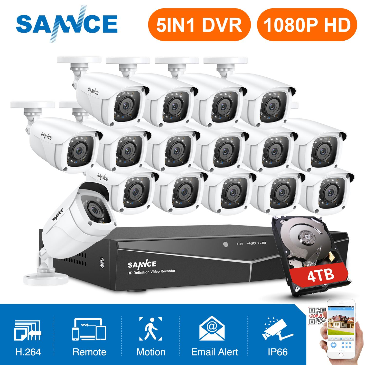 SANNCE 16 Channels CCTV Security System 16CH HD 1080P DVR 16PCS 1920*1080P IR Outdoor Cameras 2.0MP Video Surveillance Kit