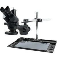 Microscópio stéreo zoom contínuo 3 5x-90x triocular  microscópio duplo com anel iluminado led 144  plataforma de reparo de celular para pcb solda