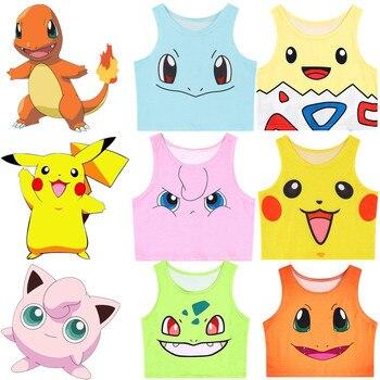 Girls Cute Cartoon Pokemon Cosplay Jigglypuff Togepi Pikachu Charmander Tank Top Sexy Crop Vest