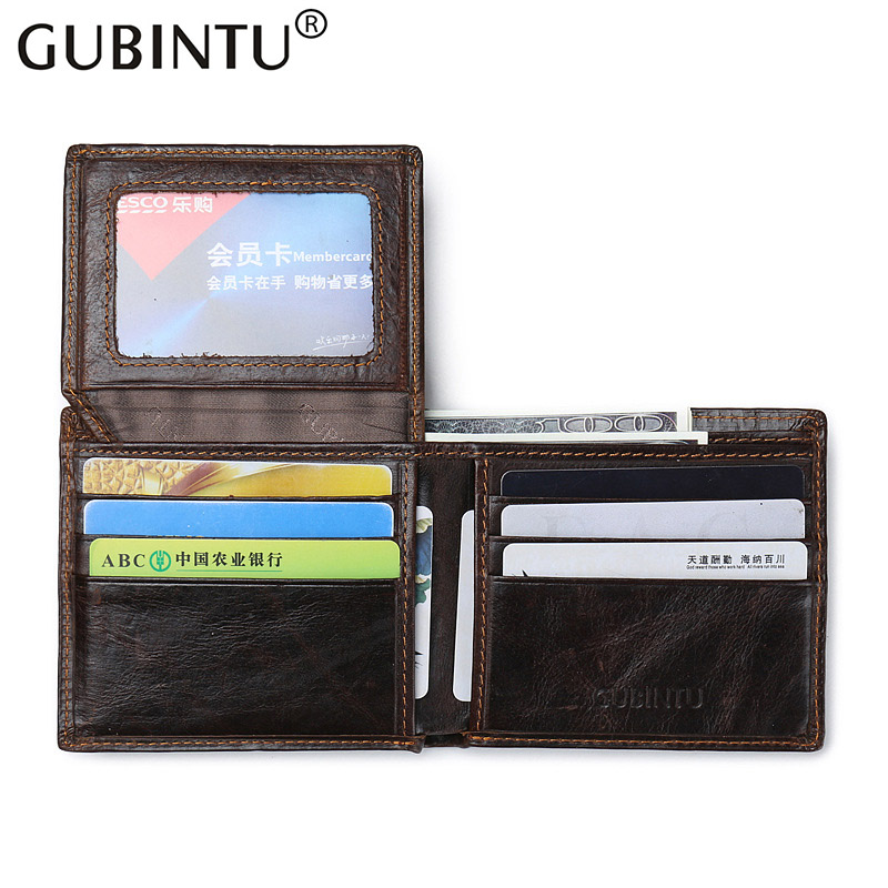 2019 Gubintu Men Short Wallets Genuine Leather Wallet Card Holder Coin Pocket Business Brand High Quality Fashion Purse For Men