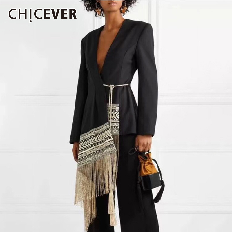 CHICEVER Embroidery Indie Folk Women's Suit V Neck Long Sleeve Tassel Patchwork Asymmetrical Blazer Female 2020 Autumn Tide