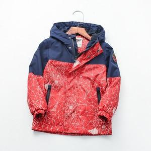 Image 3 - Детская хлопковая куртка с геометрическим принтом, 90 160 см