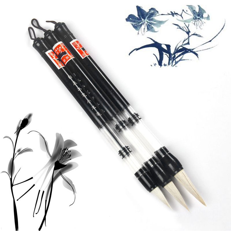 Hot Selling S/M/L Water Brush Chinese Japanese Calligraphy Reusable Adjusted Pen Practice White Head Brush