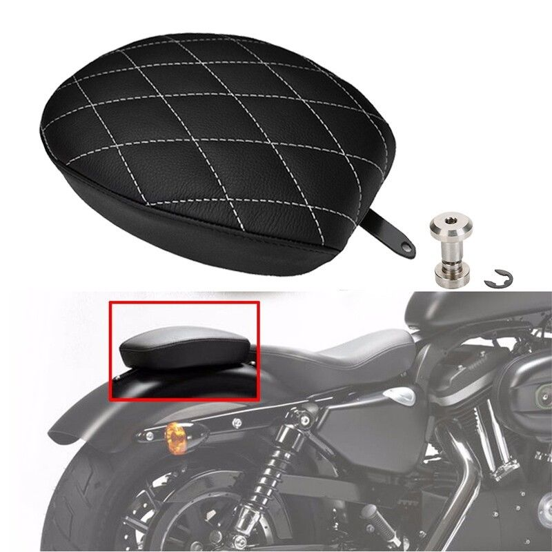 Motorcycle Black Passenger Rear Seat Pad Leather Pillow For Harley Sportster XL1200 XL883 48 2014 2015 2016