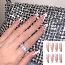 24 pçs/set moda bailarina francesa unhas falsas com design destacável unhas dicas wearable capa completa imprensa em unhas diy manicure