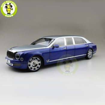 1/18 Almost Real Mulsanne Grand Limousine Mulliner Diecast Metal Model car Silver Frost over Moroccan Blue image