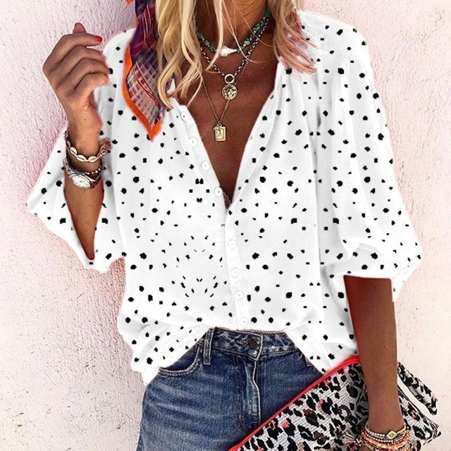 Taniafa Fashion Women Casual Loose Print Long Sleeve Shirts Casual V Neck Polka Dot Tops Blouse Plus Size 6
