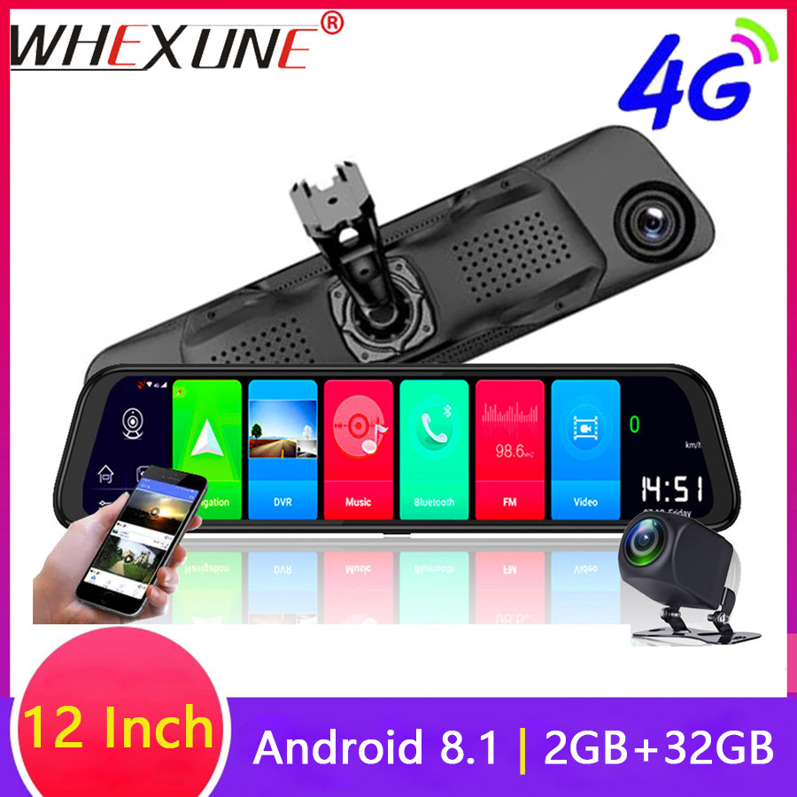 WHEXUNE 12 inch 4G <font><b>Car</b></font> <font><b>DVRs</b></font> ADAS Android 8.1 Dash Cam Camera GPS Navigation FHD 1080P Dual Lens Video Recorder Registrar Dashcam image