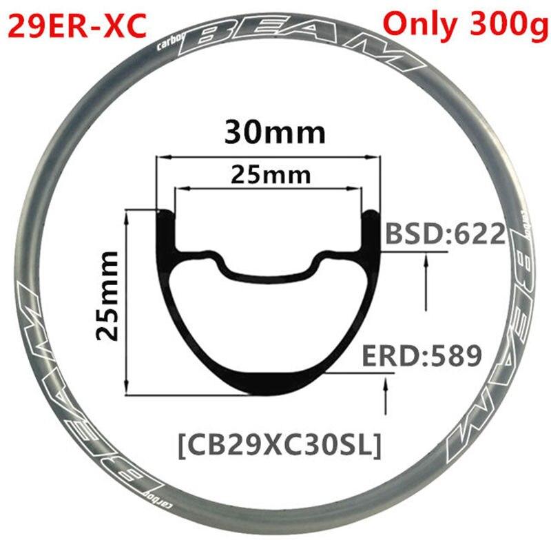 [CBZ29XC30SL] CarbonBeam 305g 30mm szerokość 25mm głębokość 29er z włókna węglowego górskie koło rowerowe XC bezdętkowe 29er karbon mtb felgi