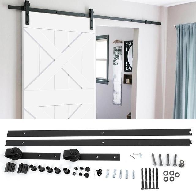 183cm 200cm Set di binari per binari per fienile Kit di guide per porte scorrevoli in acciaio per porte scorrevoli in legno