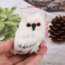 Милая сова, белая, черная пушистая Рождественская птица, украшение, украшение, имитация для домашнего декора, подарок