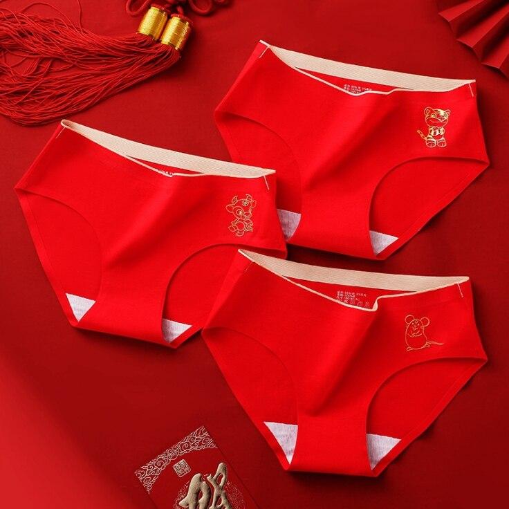 1 шт., хлопковые трусы средней посадки с китайским знаком зодиака красного цвета, нижнее белье для девочек, 1 шт.