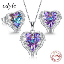 Cdyle Angel Wings Heart Shaped Necklace Earrings Set Wedding Bridal Women Jewelry Set with Top Quality Crystal 4 Color Available