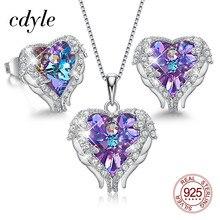 Cdyle Conjunto de collar y pendientes con forma de corazón y alas de Ángel, joyería nupcial para mujer, cristal de alta calidad, 4 colores disponibles