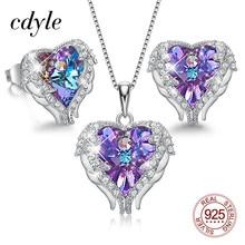 Cdyle Engelenvleugels Hartvormige Ketting Oorbellen Set Wedding Bridal Vrouwen Sieraden Set Met Top Kwaliteit Crystal 4 Kleur Beschikbaar