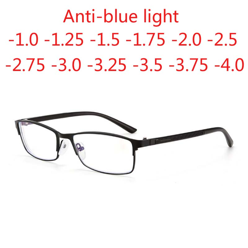 -1 -1.25 -1.5 -1.75 -2 -<font><b>2.25</b></font> -2.75 -3 -3.5 -4 Finished Myopia <font><b>Glasses</b></font> Square Full Frame Anti-blue light Metal Students <font><b>Glasses</b></font> image