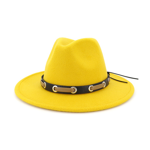Trendy Men Women Wool Felt Jazz Style Fedora Hats Panama Trilby Party Formal Top Hat In BLACK ,WHITE AND YELLOW with Belt Decor Karachi