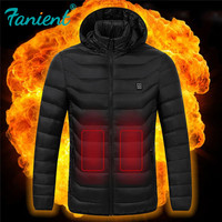 High Quality Heated Jackets Down Cotton Mens Women Outdoor Coat USB Electric Heating Hooded Jackets Warm Winter Thermal Coat