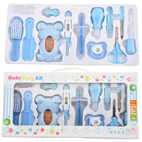 13Pcs Baby Healthcare Set Infant Grooming Kit Scissor Nail Clipper Comb Hair Brush Thermometer Child Grooming Care Tool for Baby