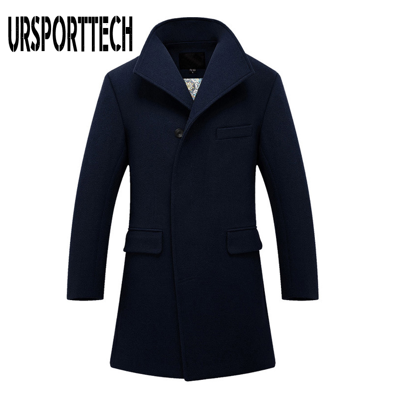 URSPORTTECH Winter New Mens Wool Blend Coats High Quality Men's Fashion Business Casual Wool Overcoat Long Section Wool Coat Men