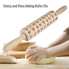 Printed Embossed Laser Engraved Halloween Rolling Pin Cookie Roller Rolling Pin Cooking Tool Kitchen Supplies heart rolling pin